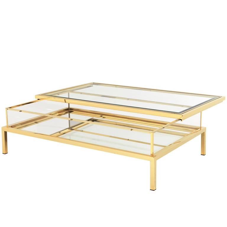 slide coffee table in gold finish with clear glass and mirror glass sliding top for sale at 1stdibs