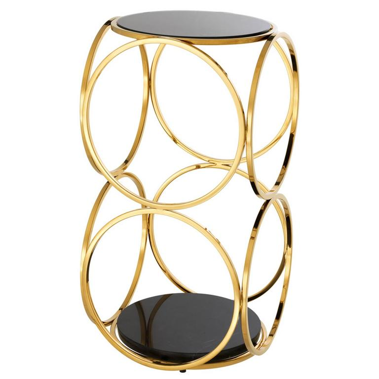 Side Table Rings in Gold Finish with Black Glass Top and Marble Base