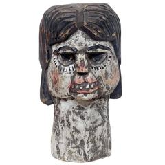 American Folk Outsider Art Carved and Painted Wood Head Sculpture of a Woman
