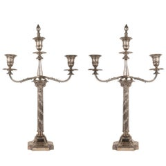 Pair of Neoclassical Silver Plate Candelabra