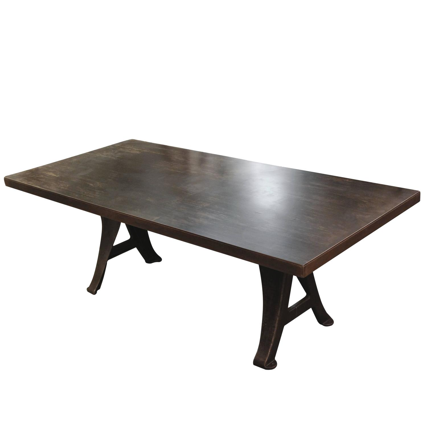 Steel table with original cast iron machine legs for sale for Iron cast table legs