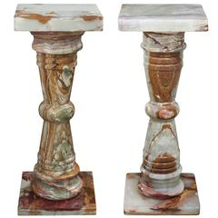 Pedestal in Polished Green and Brown Onyx
