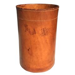Leather Trash Bin in the Style of Jacques Adnet