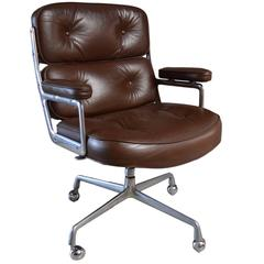Set of Four Vintage Brown Leather Eames Time Life Chairs