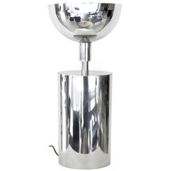 French Chrome-Plated Brass Sculptural Oval circa 1970 Table Lamp