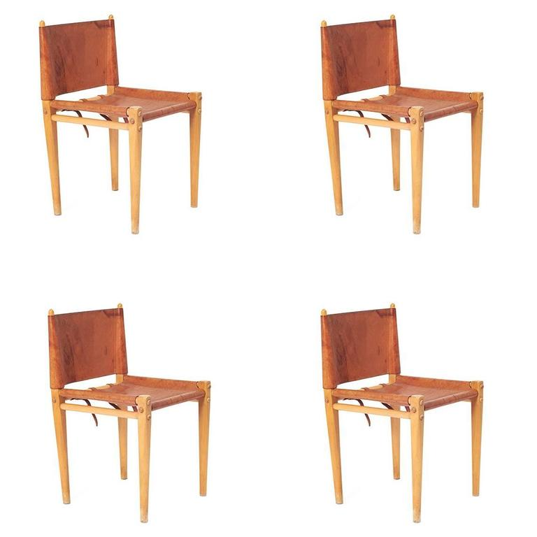 Mid Century Italian Leather And Wood Dining Chairs By Zanotta For Sale