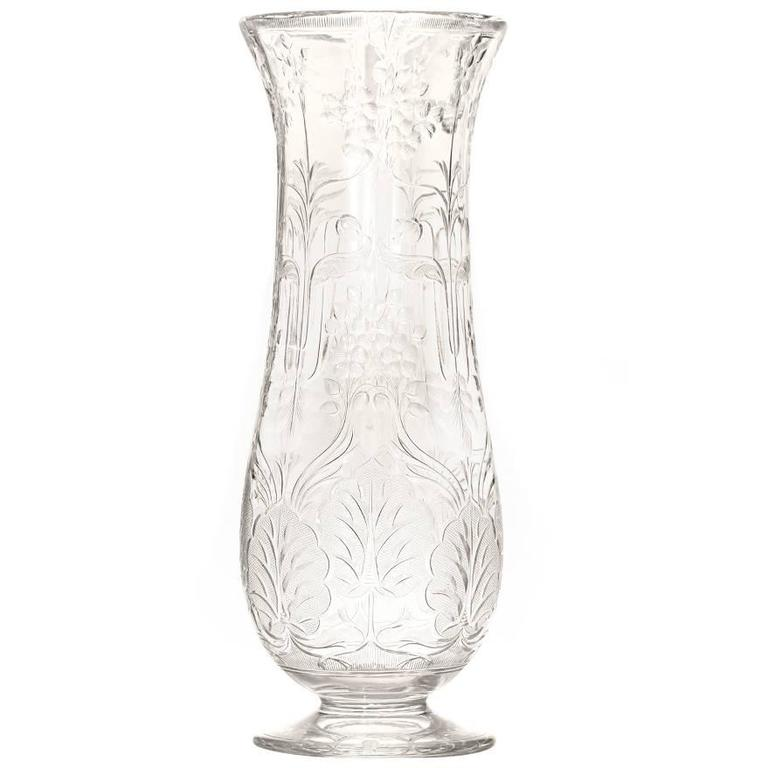 Art Nouveau Rock Crystal Vase by Webb For Sale