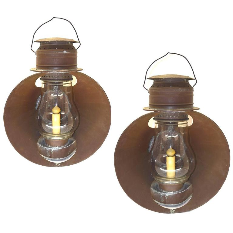 Pair of Antique American Solid Copper Ships Lanterns, circa 1890-1910 at 1stdibs