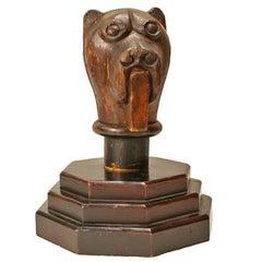 Vintage Hand-Carved Folk Art Dog Head