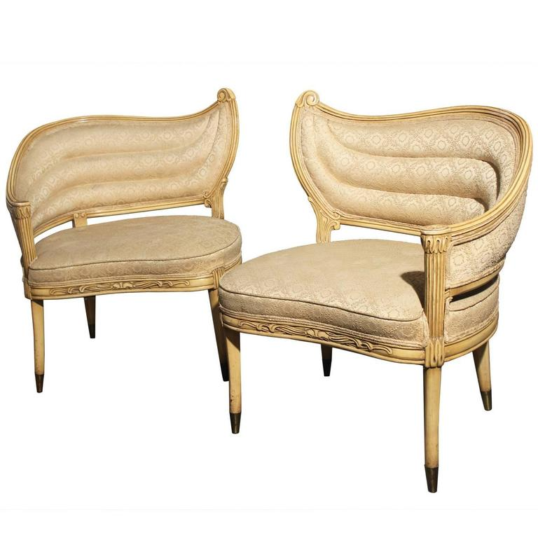 Vintage Hollywood Regency One Armed Chairs By Prince
