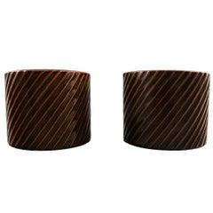 """Stig Lindberg, Gustavsberg, """"Domino"""" Pair of Vases in Ceramic, 1950-1960s"""