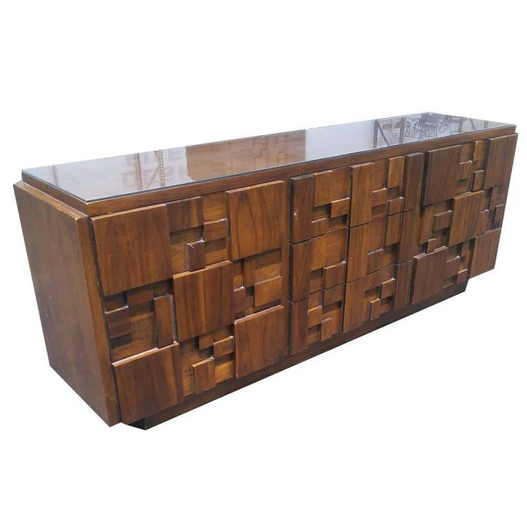 Awesome Vintage Mid Century Brutalist Style Dresser For Sale