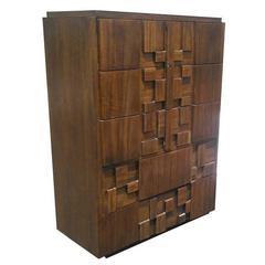 Vintage Mid-Century Brutalist Evans Style Tall Dresser