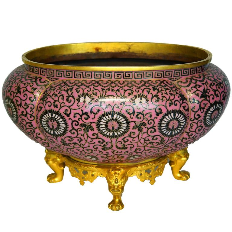 Pink oval cloisonne centerpiece bowl on gilt bronze base