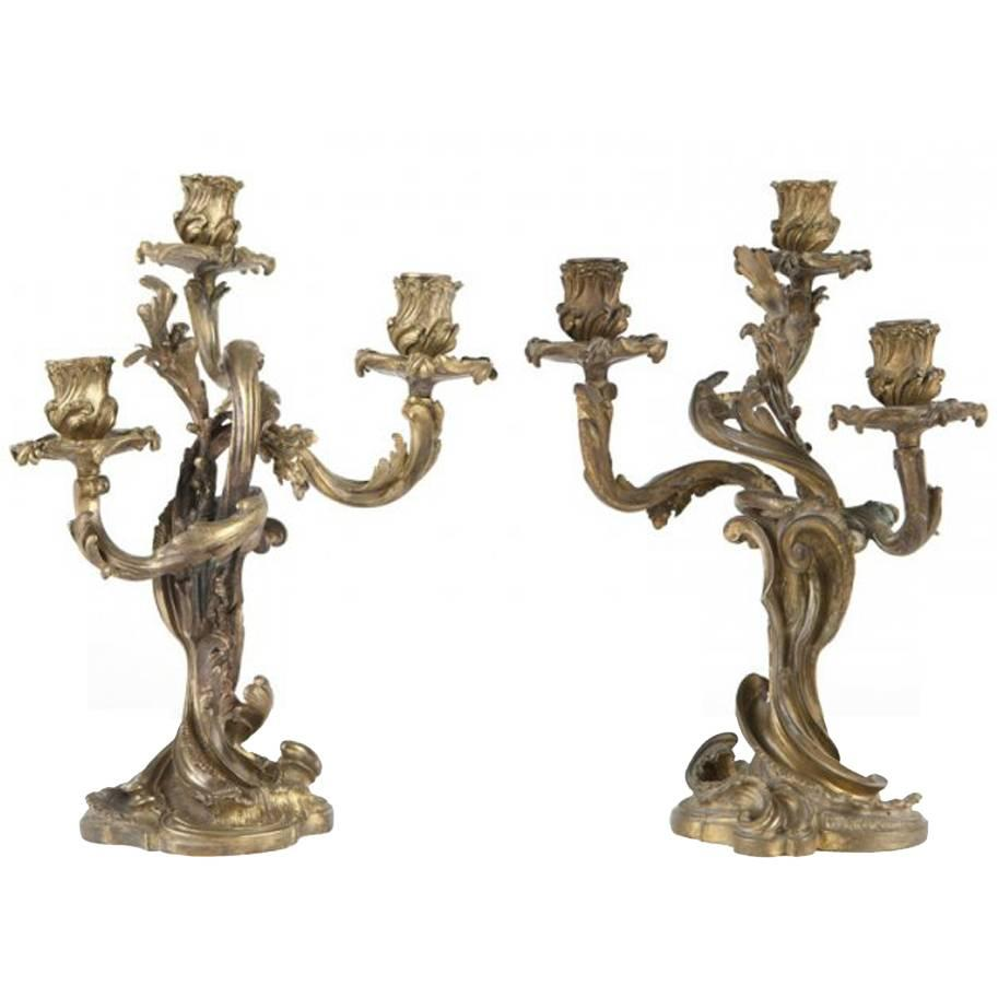 Pair of 19th Century French Gilt Bronze Candelabra