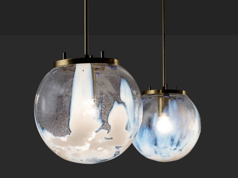 Pair of Pendants in Glass and Brass, Italy, 1950s 3