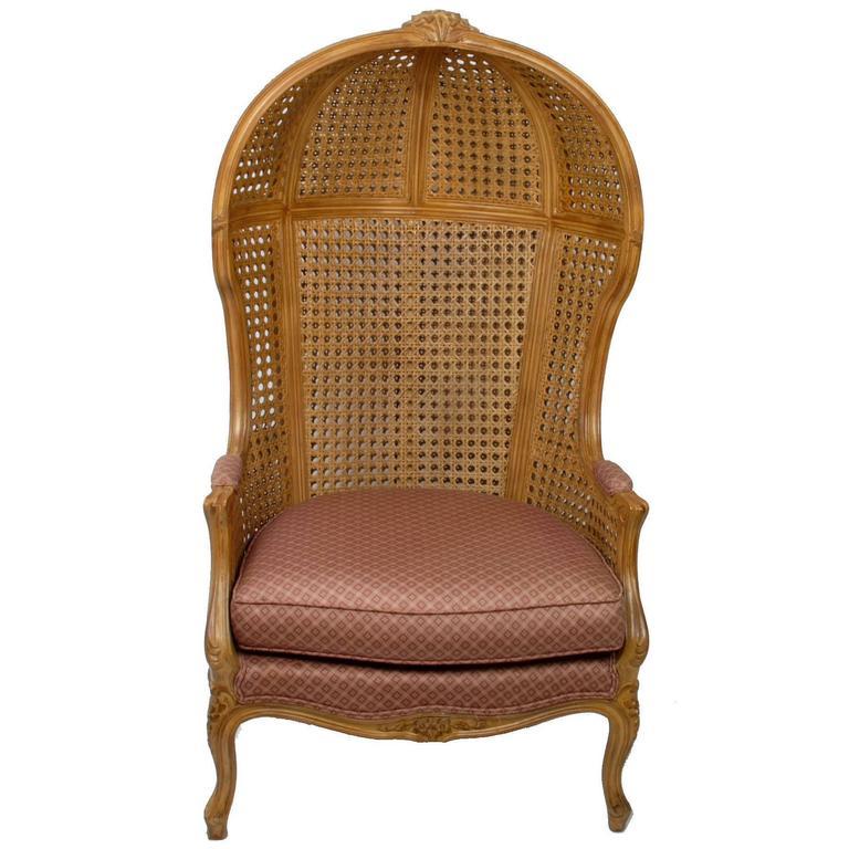 Vintage Hand-Carved Cane High-Back Hooded Chair 1 - Vintage Hand-Carved Cane High-Back Hooded Chair For Sale At 1stdibs