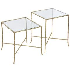 Pair of Elegant End Tables in Brass with Bamboo Design