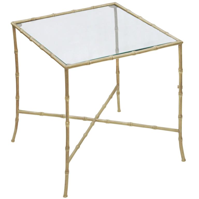 Elegant End Table in Brass with Bamboo Design