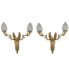 Pair of French Empire Style Ormolu Wall Sconces