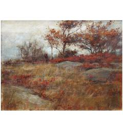 """Charles Courtney Curran """"Autumn Landscape"""" Oil on Canvas, Signed"""