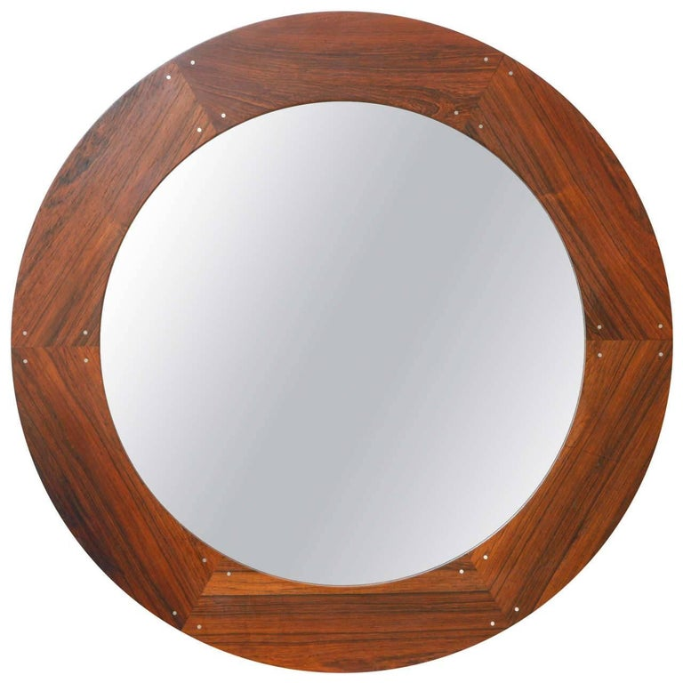 Circular Wood Mirror by Luxus, circa 1960 For Sale