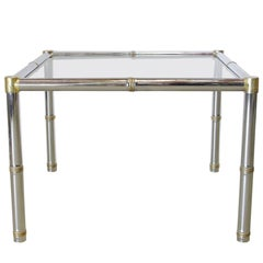 Faux Bamboo Chrome and Brass Side Table