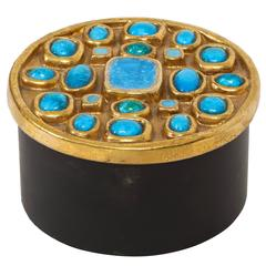 Lembo Attributed Ceramic Jewel Box Gold Enamel Blue Stones, France, 1960, 1970