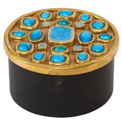 Lembo Attributed Ceramic Jewel Box Gold Enamel Blue Stones, France, 1960, 1970