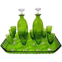 1900s St. Louis French Green Cut Crystal Liquor Set Decanter Cordials and Tray