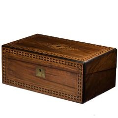 English Writing Slope Marquetry Box, 19th Century
