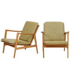 Pair of Hans Olsen Oak Lounge Chairs by Juul Kristiansen, 1950s