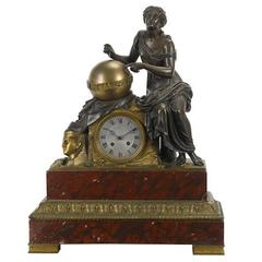 French Bronze and Rouge Marble Figural Mantel Clock, 19th Century