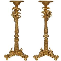 Pair of Italian Early 19th Century Louis XIV St. Giltwood Torchières