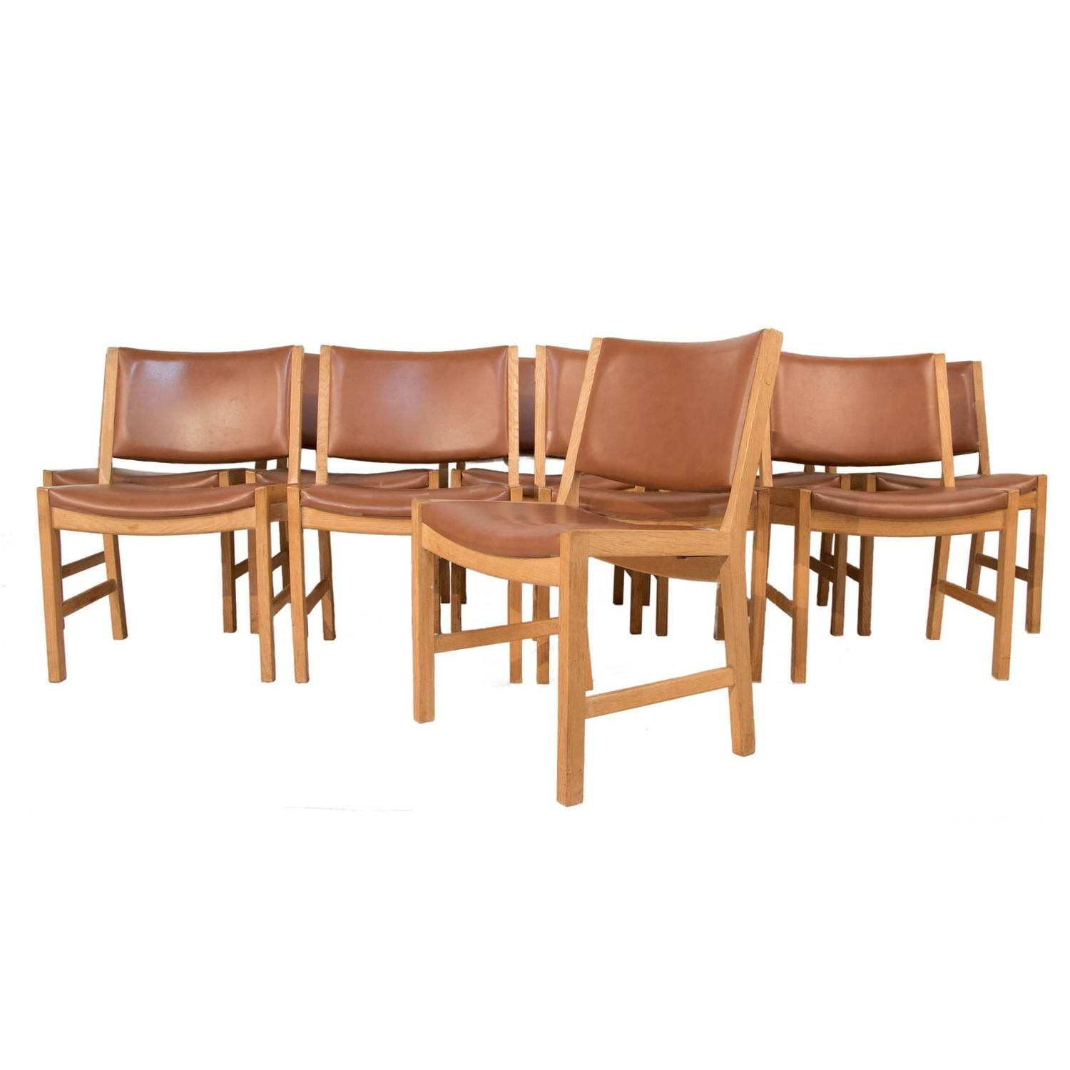 Set of ten leather dining chairs by hans wegner at 1stdibs for Wegner dining chair