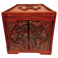 19th Century Jewelry Box, Chinese Red Lacquered