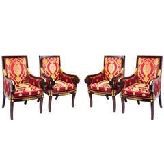Fabulous Set of Four Empire Style Mahogany Armchairs