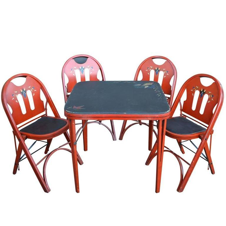 Set Of Solid Kumfort Folding Table And Chairs Circa 1927