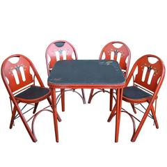Set of Solid Kumfort Folding Table and Chairs, circa 1927