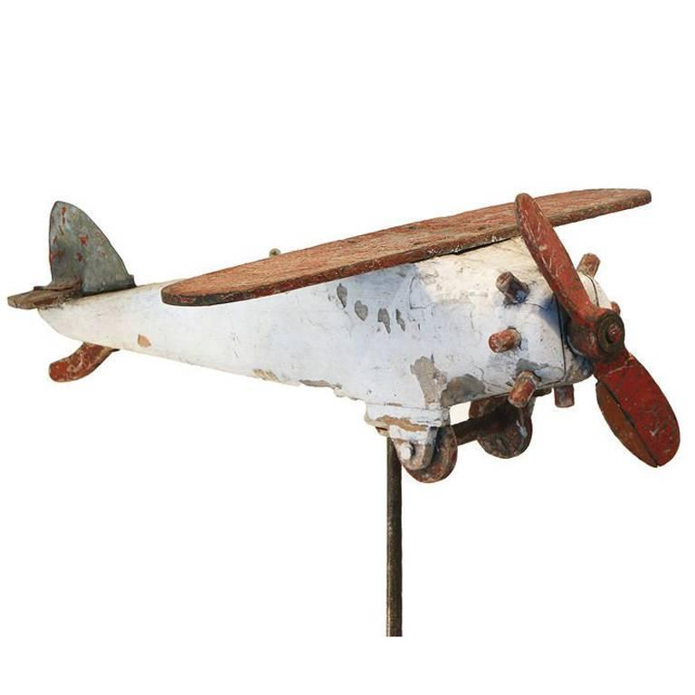 Carved Wood Folk Art Airplane, circa 1940s