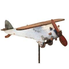 Carved Wood Folk Art Airplane, circa 1940s