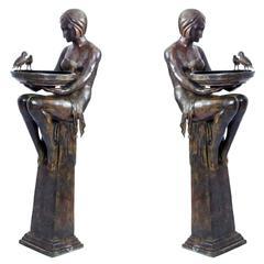 Huge Pair of Bronze Art Deco Jardinieres on Stands