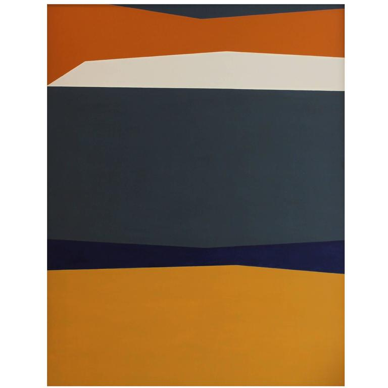 Abstract geometric Oil on Board by Roy Conn from 1960, painting.