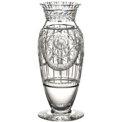 Art Deco Cut Crystal Vase by Webb