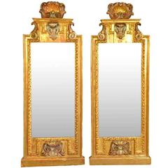Pair of 18th Century Northern Italian Trumeau in Gilt and Polychromed Wood