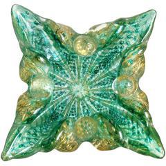 Barovier Murano Green Striped Gold Flecks Italian Art Glass Spike Bowl