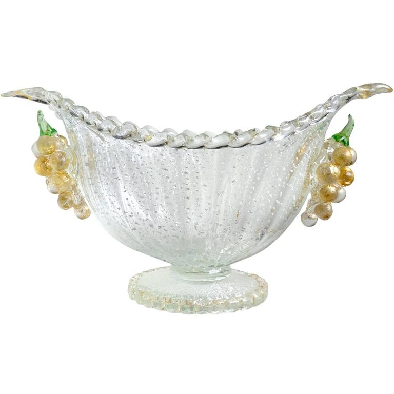 Barovier toso murano silver gold flecks italian art glass for Barovier e toso