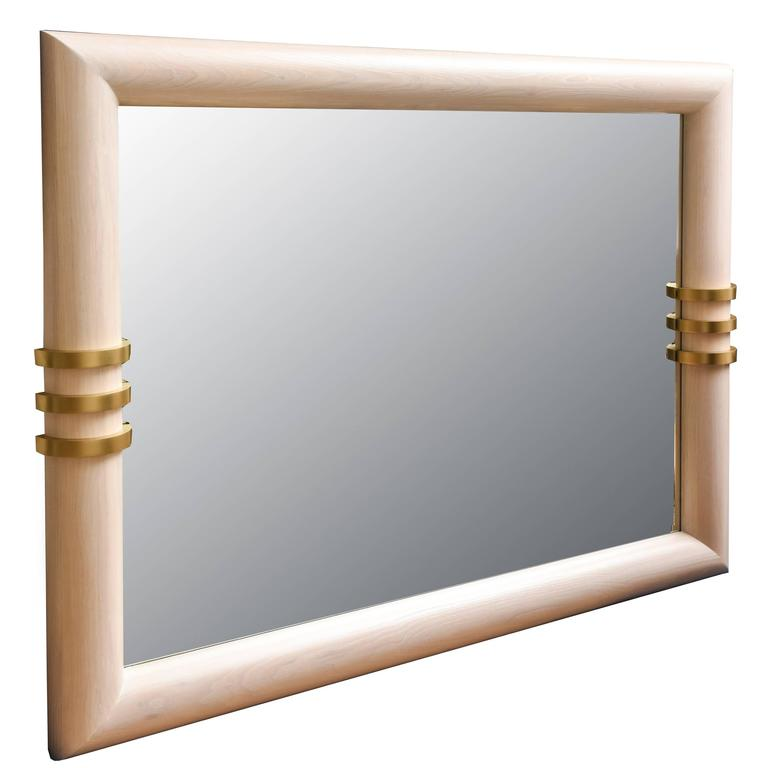 Cerused Oak and Brass Banded Vertical or Horizontal Mirror For Sale