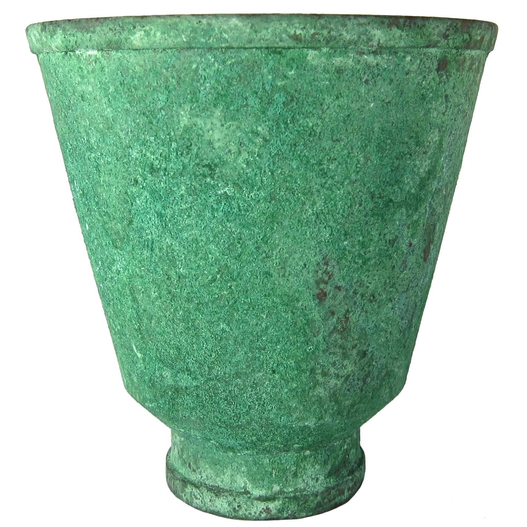 Marie Zimmermann American Arts & Crafts Vase with Encrusted Green Patina