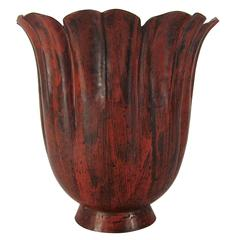 Marie Zimmermann Fluted Floriform Vase with Flaming Scarlet Patina, circa 1915